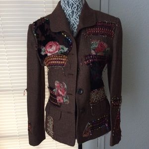 Jacket  Floral Brown Upcycled  Handmade Sz 6